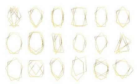 Illustration pour Gold geometric frames, wedding invitation card golden diamond shapes. Vector premium luxury gold abstract geometric frames - image libre de droit