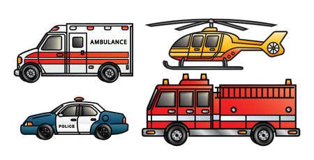 Photo for Four illustrations depicting various emergency vehicles  - Royalty Free Image