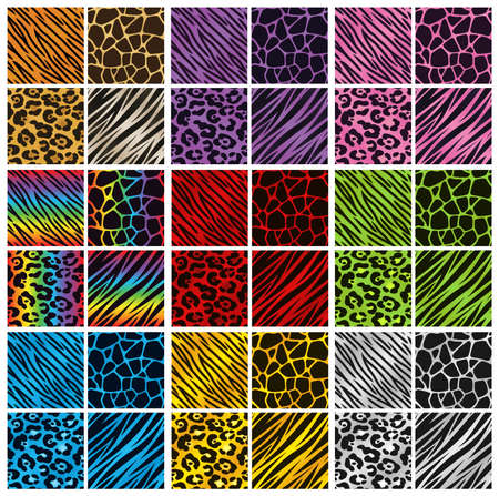 Ilustración de Collection of 36 different animal print backgrounds in various colors  - Imagen libre de derechos