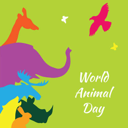Illustration for World animal day. Vector illustration of colorful animal silhouettes on a green background. - Royalty Free Image