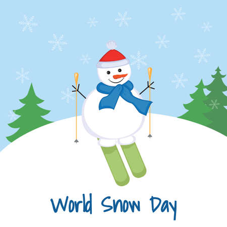 Illustration pour World Snow Day. Snowman on skis on a background of a snowdrift and trees. - image libre de droit