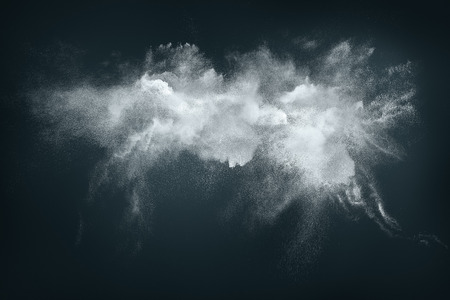 Photo for Abstract design of white powder cloud against dark background - Royalty Free Image