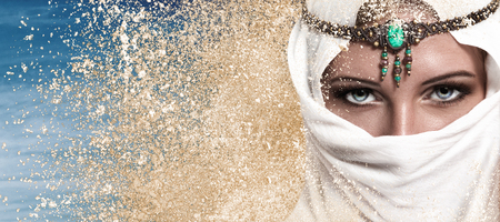 Photo for Portrait of young beautiful woman arabic style fashion look - Royalty Free Image