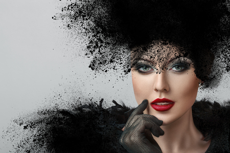 Foto für Fashion portrait of young woman with creative hairstyle made from exploded powder - Lizenzfreies Bild