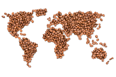Foto de Roasted coffee beans shaped earth globe map isolated on white background - Imagen libre de derechos