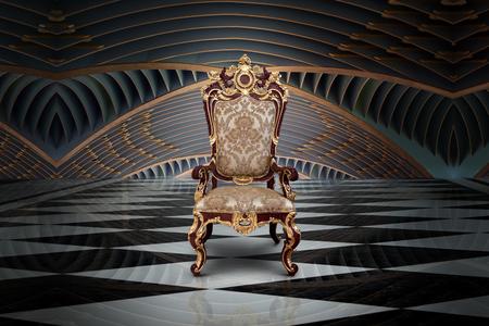 Foto de Abstract design of empty throne in palace hall - Imagen libre de derechos