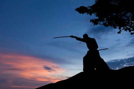 Foto de Abstract photo of man silhouette demonstrating martial arts with sword in front of sunset sky - Imagen libre de derechos