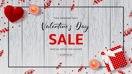 Illustration pour Happy Valentine's Day Sale Web Banner. Top view on composition with gift box, case for ring, candles and confetti on Wooden Texture. Vector illustration with Seasonal Discount Offer. - image libre de droit