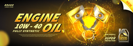 Illustration pour Engine oil advertisement banner. Vector illustration with realistic pistons and motor oil on bright background. 3d ads template. - image libre de droit