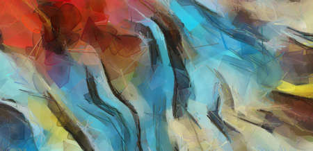 Photo pour Wall poster print template. Abstract painting art. Hand drawn by dry brush of paint background texture. Oil painting style. Artistic pattern for web or graphic design. Modern impressionism technique. - image libre de droit