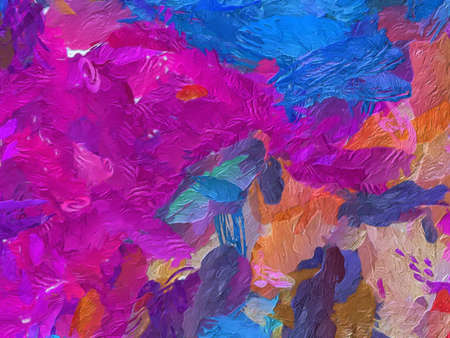 Photo pour Trendy abstract painting oil background. Wall art print for sale. Graphic design creative pattern. Very colorful and bright handmade texture. Impressionism drawing on canvas. Stock. Unique wallpaper. - image libre de droit