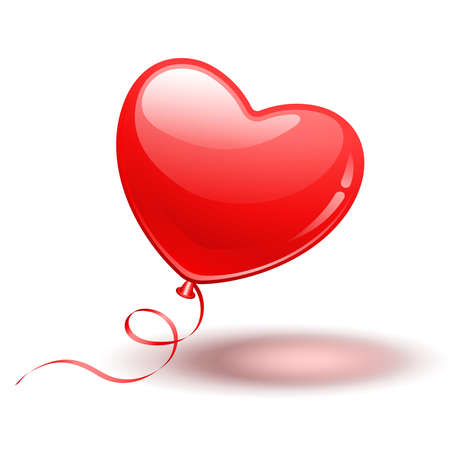 Illustration pour Red Heart Shape Balloon on white background - image libre de droit