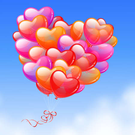 Illustration pour Colorful Heart Shaped Balloons in the sky - image libre de droit