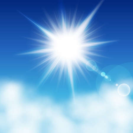 Illustration for Sun with rays on a blu sky other the clouds. Vector illustration - Royalty Free Image