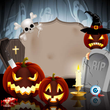 Halloween card on forest background with different objects and place for text.
