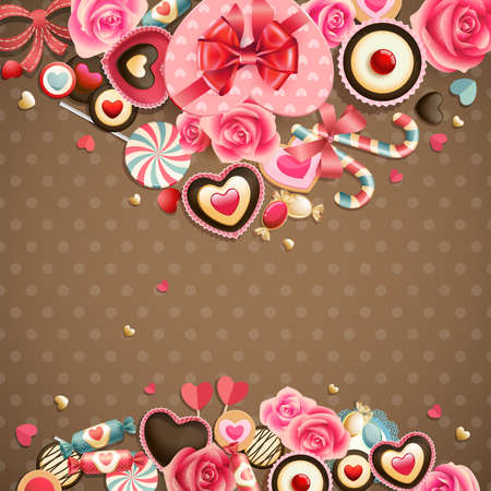 Valentine s Day vintage card with sweets and place for text