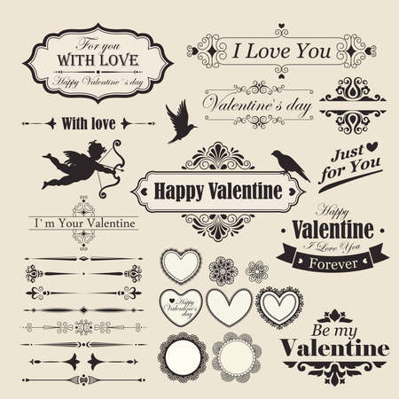 Valentine s Day vintage design elements and letterning