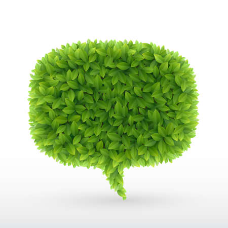 Illustration pour Summer Bubble for speech, Green leaves. illustration. - image libre de droit