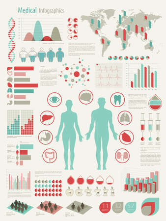 Medical Infographic set with charts and other elements. illustration.
