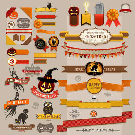 Set of Halloween retro ribbons - scrapbook elements.