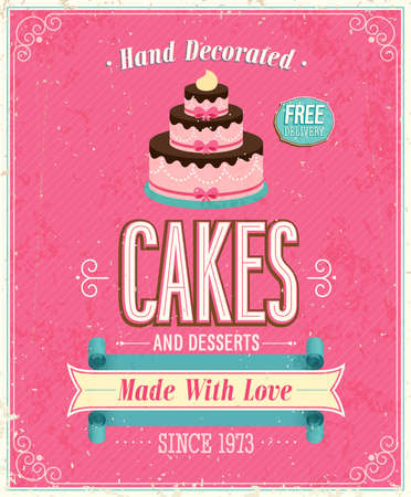 Photo for Vintage Cakes Poster. Vector illustration. - Royalty Free Image