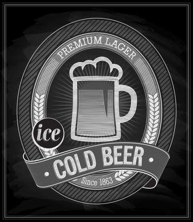 Cold Beer Poster - Chalkboard. Vector illustration. mural