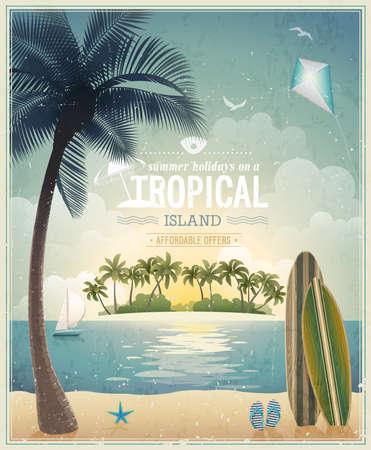 Illustration for Vintage seaside view poster. - Royalty Free Image