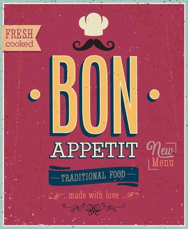 Illustration pour Vintage Bon Appetit Poster. - image libre de droit