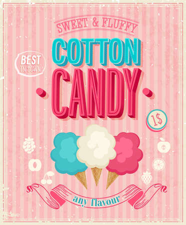 Foto per Vintage Cotton Candy Poster. - Immagine Royalty Free