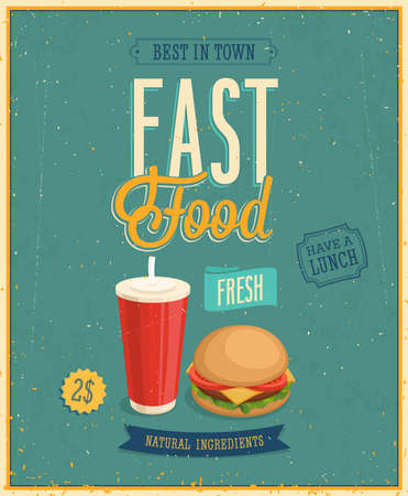 Photo for Vintage Fast Food Poster. - Royalty Free Image