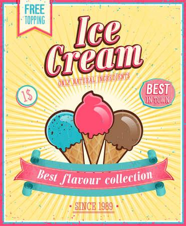 Ilustración de Vintage Ice Cream Poster.  - Imagen libre de derechos