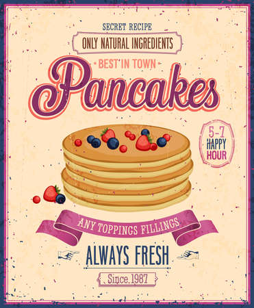 Illustration pour Vintage Pancakes Poster. - image libre de droit