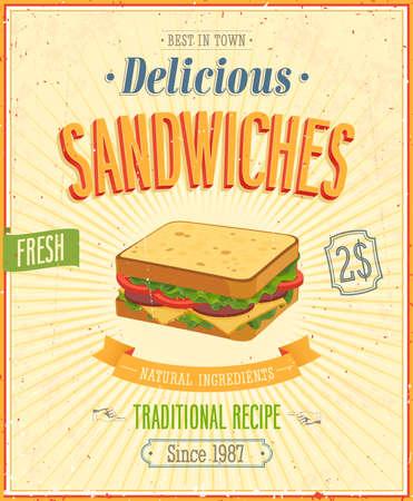 Illustration pour Vintage Sandwiches Poster.   - image libre de droit