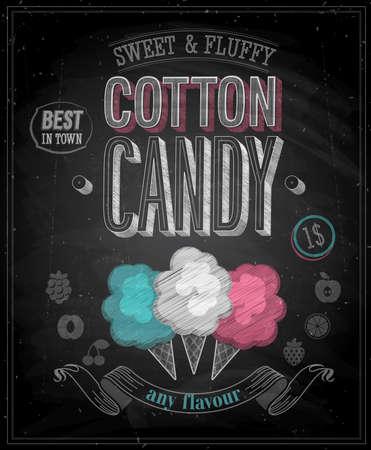 Illustration pour Vintage Cotton Candy Poster - Chalkboard. Vector illustration. - image libre de droit