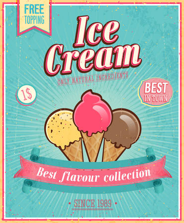 Illustration for Vintage Ice Cream Poster. Vector illustration. - Royalty Free Image