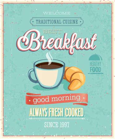 Illustration pour Vintage Breakfast Poster. illustration. - image libre de droit