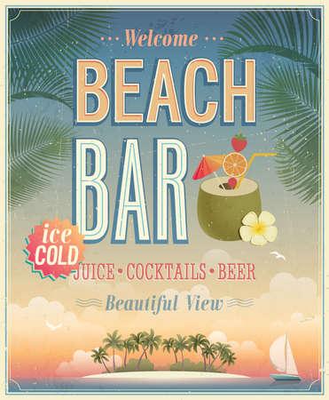 Ilustración de Vintage Beach Bar poster.  - Imagen libre de derechos