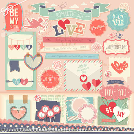 Illustration pour Valentine`s Day scrapbook set - decorative elements. Vector illustration. - image libre de droit