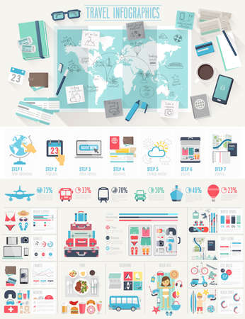 Ilustración de Travel Infographic set with charts and other elements. Vector illustration. - Imagen libre de derechos