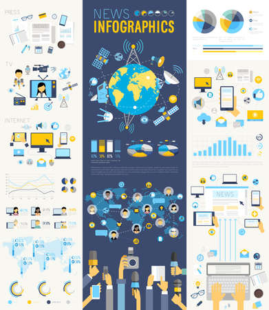 Ilustración de News Infographic set with charts and other elements. Vector illustration. - Imagen libre de derechos