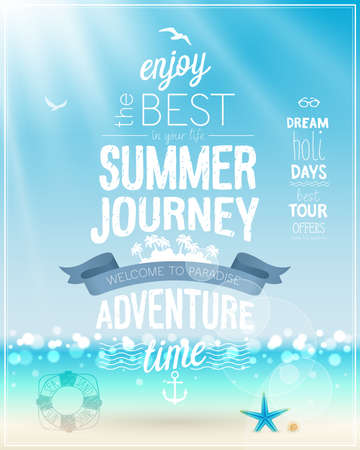 Illustration for Summer Journey poster with tropical beach background. - Royalty Free Image