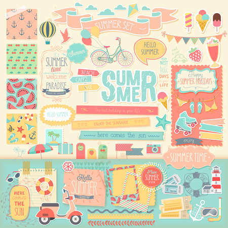 Illustration pour Summer scrapbook set - decorative elements. Vector illustration. - image libre de droit