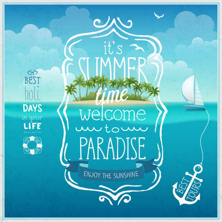Ilustración de Summer time poster with tropical island and underwather  background. - Imagen libre de derechos