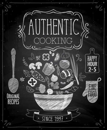 Ilustración de Authentic cooking poster - chalkboard style. Vector illustration. - Imagen libre de derechos