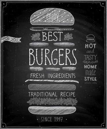 Illustration pour Best Burgers Poster - chalkboard style. Vector illustration. - image libre de droit