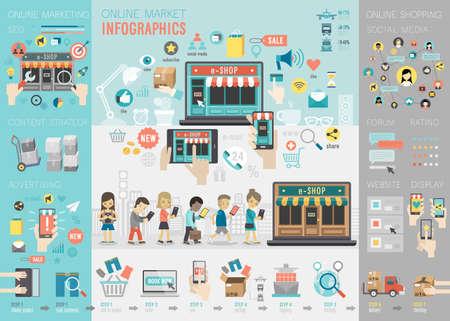 Illustration pour Online Market Infographic set with charts and other elements. Vector illustration. - image libre de droit