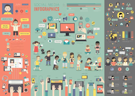 Illustration for Social Media Infographic set with charts and other elements. Vector illustration. - Royalty Free Image