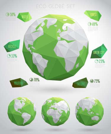 Illustration for Set of vector eco globes - geometric modern style.Vector illustraition. - Royalty Free Image