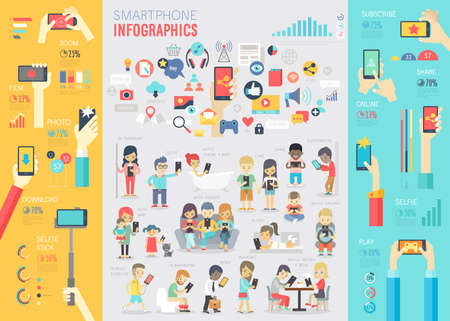Illustration pour Smartphone Infographic set with charts and other elements. Vector illustration. - image libre de droit