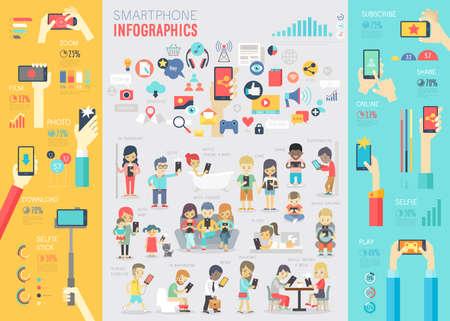 Ilustración de Smartphone Infographic set with charts and other elements. Vector illustration. - Imagen libre de derechos